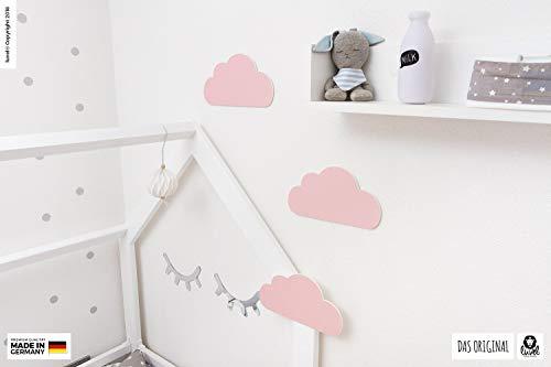 luvel (M6) – 3er Set XXL Wolken mit 3D-Effekt als Kinderzimmer Deko Wandtattoo Kinderzimmer 30×15 cm 5mm Kunststoff (rosa) - 2