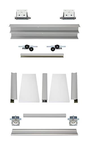 Drempel Kniestock Schiebetürbausatz Komplett - inklusive 2 Türen á max. 1000 x 1250 mm in Dekor Weiß, inkl. Beschläge und Schienen in 2 Meter