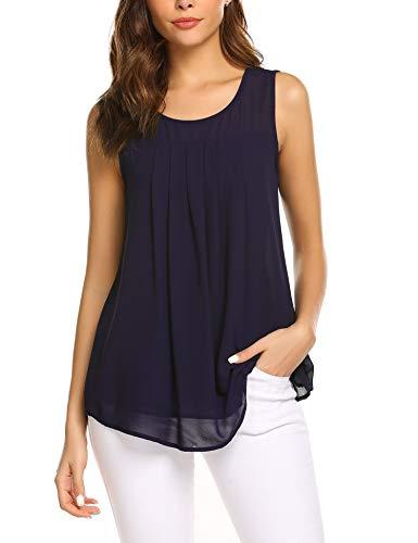 Parabler Frauen Ärmellose Chiffon top Sleeveless Solide Weste Bluse Tank Tops Kleidung Sommerbluse (Navy Blau, EU 40/L)