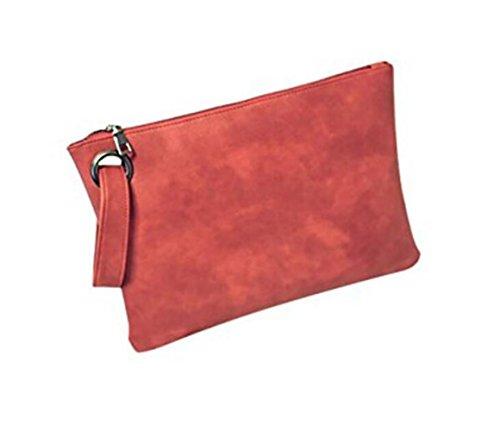 DcSpring Pochette in PU Pelle Grande Capacità Sacchetto Portafoglio Borse a Mano Cerniera per Donna Rosa rosso