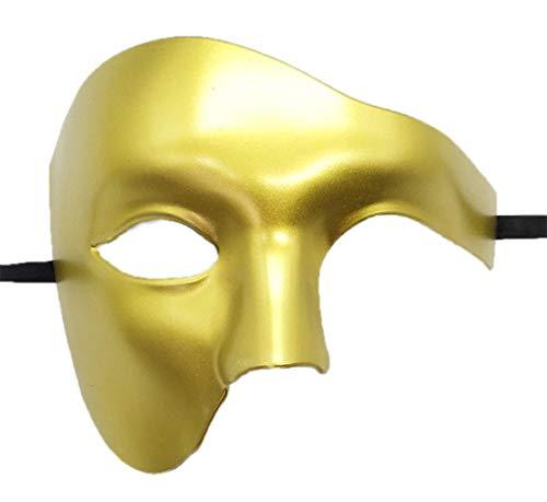 Flywife Herren Phantom von Das Oper Maskerade Maske Hälfte Gesicht Jahrgang Römisch Venezianischen Maske (Helles Gold)