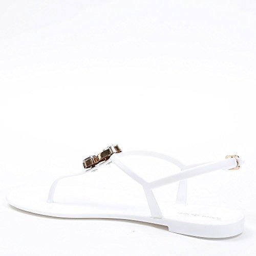 Ideal Shoes–Sandalen Flache Gummi Strass Dekor Gordana Weiß - weiß