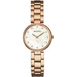 Bulova Ladies Women's Designer Diamond Watch Bracelet - Rose Gold Mother Of Pearl Wrist Watch 97S111