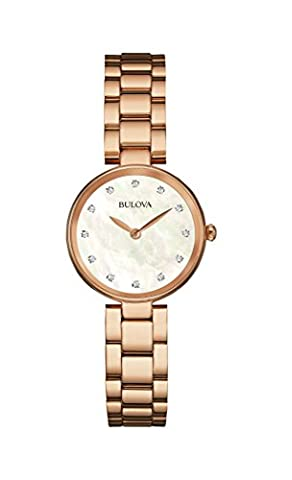 Bulova Ladies Women's Designer Diamond Watch Bracelet - Rose Gold Mother Of Pearl Wrist Watch