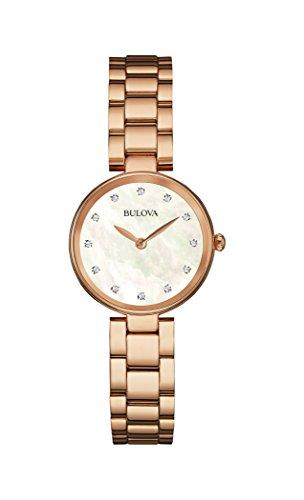 Bulova Diamond 97S111 - Reloj de Pulsera de diseño para Mujer - Esfera de nácar - Color Oro Rosa