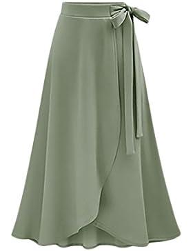Faldas Mujer Verano Elegantes Faldas Largas Cintura Alta Irregular Dobladillo Vintage Coctel Moda Casual Medium...