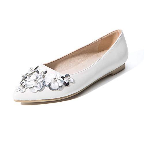 XLY Frauen weichen Spitzen Zehen Ballett Hochzeit Wohnungen Komfort Slip On Bridal Flats Schuhe,White,39 (Ballett Wohnungen Weichen)
