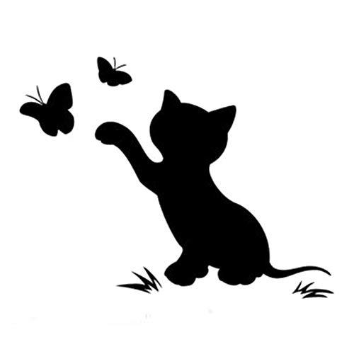 Dandeliondeme Lustige Katze Schmetterling LKW Auto Aufkleber Vinyl Stoßstange Dekorative für Notebook Skateboard Gepäck Koffer MacBook Auto Fahrrad Stoßstange Schwarz