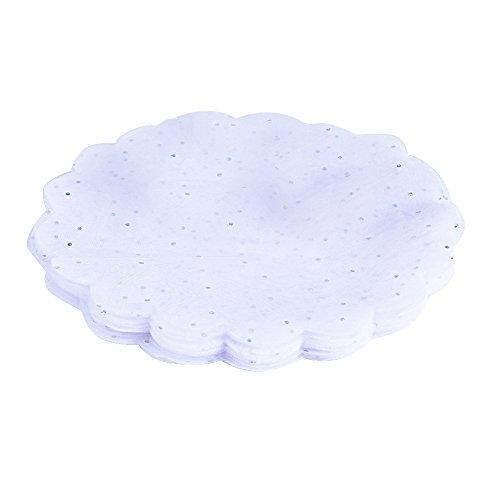 100 x Círculos de Tul (24 cm de diámetro) + Tiras de Hilos para el Cierre, Regalo Recuerdo Favor Decoración Detalle para Boda, Fiesta, Bautizo, Comunión