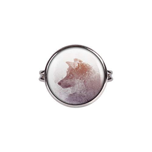Mylery Ring mit Motiv Wolf Winter Wald Farben Doppel-Belichtung silber 16mm (Halloween Den In Wald Magischen)