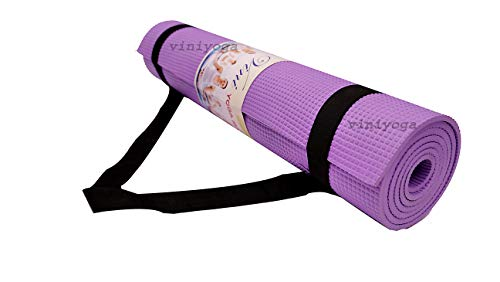 Vini Yoga Mat 4 mm PVC-Free, EVA Yoga Mat for Gym Workout, Flooring Exercise with Carry Strap for Men Women (Violet)