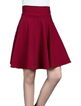 Básicos De Las Mujeres De Cintura Alta Falda Mini Patinador Llamarada