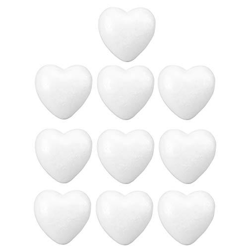 erz Styropor Ball zum Basteln Herz Tischdeko für DIY Hochzeitsdeko 10 Stücke 6 cm (Weiß) ()