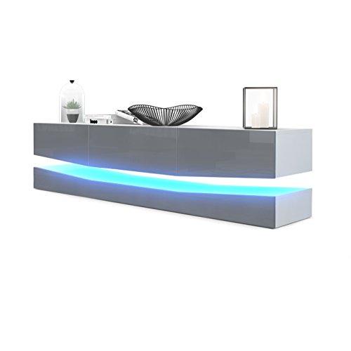 TV-Board Lowboard City, Korpus in Weiß matt / Fronten in Grau Hochglanz inkl. LED Beleuchtung