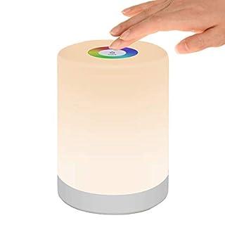 DIWUJI Nachttischlampe Touch Dimmbar, LED Smart NachtLicht Stimmungslicht Schreibtischlampe, USB Aufladbar, Tragbar, FarbWechsel 256 RGB für Kinder, SchlafZimmer, Camping (Warmweiß)