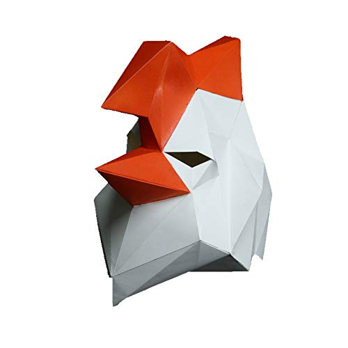 3D Papier Maske Tierkopf Formen DIY Craft Kit, Halloween, Party Kostüm oder Cosplay (Hahn)