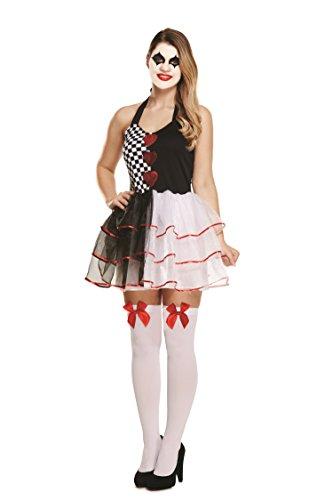 Damen Harlequin Jester Clown Kostüm - Jester Kostüm Weiblich