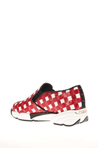 Pinko Donna Sneaker 1H207H-Y23Z ZR2 Sequins Sneaker Tessuto Bianco/Rosso