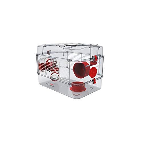 Gabbia Habitat per Criceto MOD. RODY 3 Solo Colore Granata Completa di Accessori Mis. 41x27x28h con Tubi e Giochi