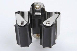 10 Stück Gerätehalter Werkzeughalter Besenhalter Gartengerätehalter Federstahl / Gummi vernickelt / schwarz 23mm flexibel einsetzbar