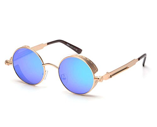 Arctic Star Vintage Steampunk Sonnenbrille, Gold Frame Blue Reflective Lenses, Mirror Width is 48 mm