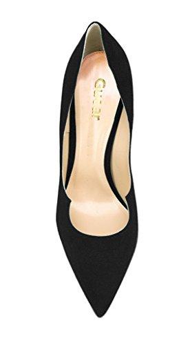 Guoar High Heels Große Größe Spitzschuh Geschlossene Toe Klassik Damen Pumps mit Stiletto Absatz Club Party Hochzeit Schwarz Samt