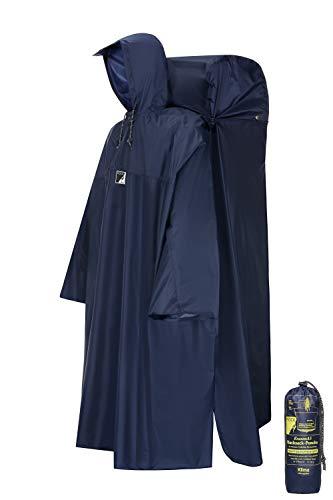 HOCK Regenponcho Wandern mit ausfaltbarem Regenschutz für Rucksack – Herren & Damen Regencape mit Sturmhalteband für Wanderprofis – Extra Langer Wanderponcho mit Verstellbarer Vorderlänge - Blau - L