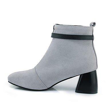 Best 4U® Da donna Stivaletti Stivali Autunno Inverno Finta pelle Casual Formale Fibbia Quadrato Nero Grigio 5 - 7 cm gray