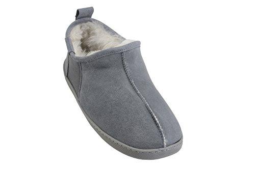 Pantofole Stivaletti Lussuose in Vera Pelle di Pecora Foderati con Autentica Pelliccia da Uomo Grigio/Bianco