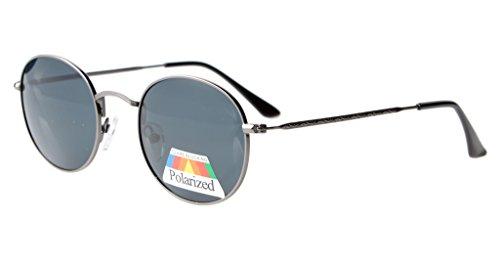 Eyekepper Vintage Style Qualität Runde polarisierten Sonnenbrillen Gunmetal Frame-Grau Lens