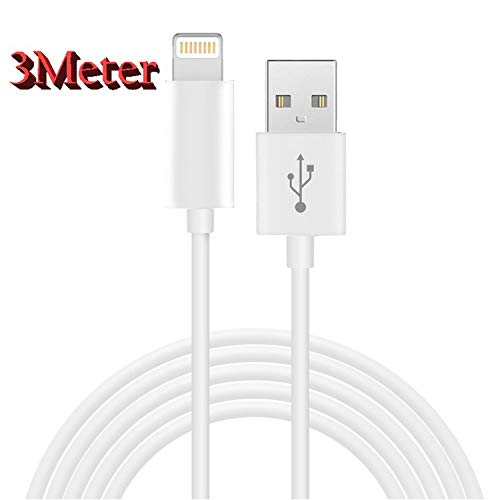 3 Meter Kabel Datenkabel Ladekabel für iPhone X XS XR XS Max 7 8 7 Plus 8 Plus 6 6S 6Plus 6S Plus 5 5S 5C SE iPad 4/5 / Pro iPad Air / Air2 iPad Mini 1/2 / 3/4 iPod Touch 5/6 weiß (Adapter Touch Ac Ipod)