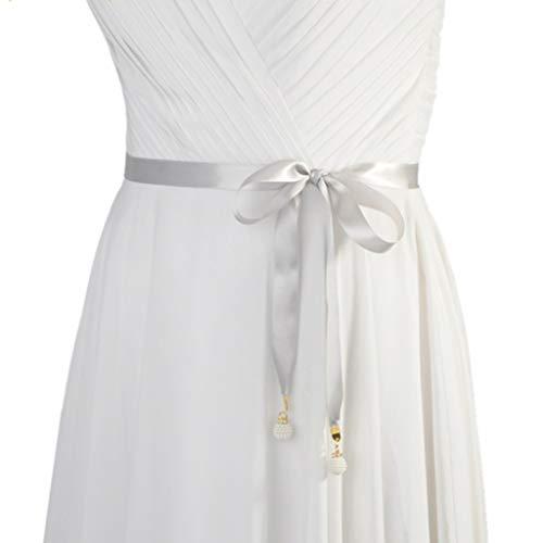 Haptian Einfarbig Braut Taille Satinband Trim DIY Bogen Gürtel Hochzeitskleid Anhänger(Grau-1Stück) Satin Cummerbund