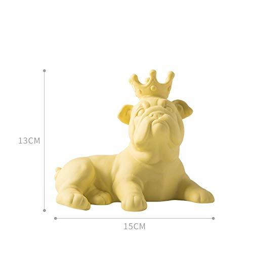 FCFLXJ Abstraktion Tier Hund Statue Bulldog Engel Sonnenbrille Keramik Art & Craft Büro Wohnzimmer Desktop Dekoration, gelb