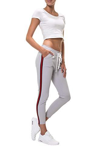 Hachiro Damen Freizeithose Jogginghose Sportswear Style (S, Grey/Black-Red)