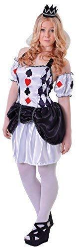 re Mädchen 3 Stück Queen of Karten Halloween Welttag des Buches-Tage-Woche Karneval Kostüm Kleid Outfit 12-15yrs ()