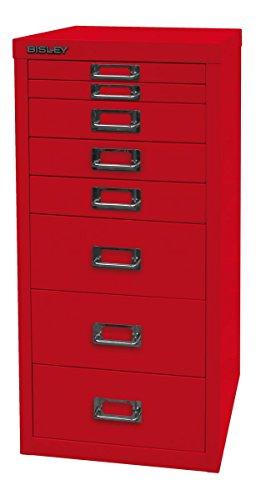 Metallschubladenschrank mit 8 Schubladen, Aktenschrank rot