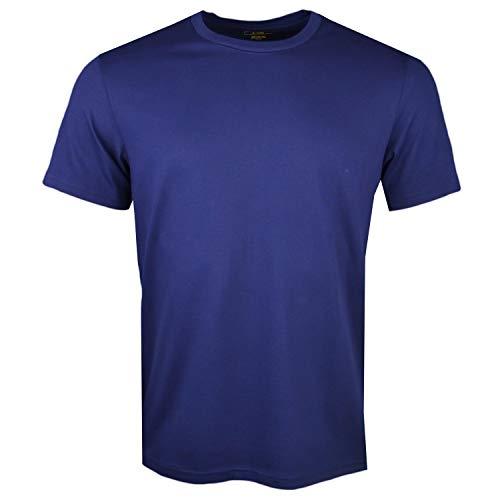 Polo Ralph Lauren Herren T-Shirt, Rundhals, Baumwolle, Uni mit Logo - Marine: Größe: L (Gr. Large)