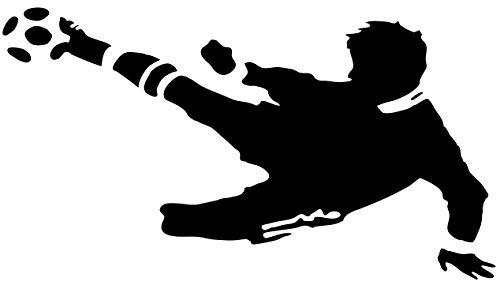 EmmiJules Wandtattoo Fußball-Spieler Fussballer - mit Namen möglich - Made in Germany - in verschiedenen Größen und Farben - Kinderzimmer Junge Fußball WM EM Sticker Aufkleber (110cm x 75cm, schwarz)