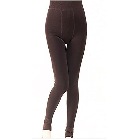 Herbst Winter Frauen Mädchen Dicke Warm Fleece Stretchy Leggings Hosen (Kaffee)