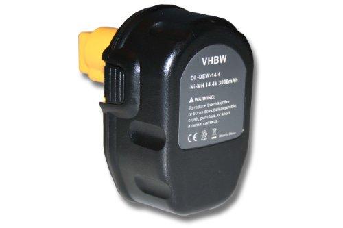 Preisvergleich Produktbild vhbw NiMH Akku 3000mAh (14.4V) schwarz für Werkzeug DEWALT ersetzt DC9091, DE9038, DE9091, DE9092, DE9094, DE9140, DE9141, DE9502, W9091, DW9094.