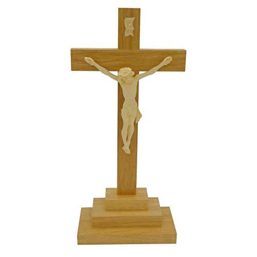 kruzifix24 Devotionalien Stehkreuz Standkreuz Eiche Natur Balken gerade mit Jesus Körper hell 25 x 12 cm Stufenfuß Altarkreuz für Zuhause Pflegeheim Unterweg - Sterbekreuz für Hospitz