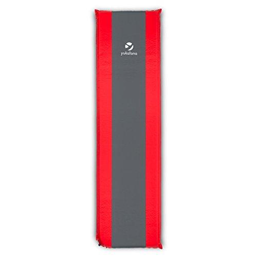 Yukatana Goodrest 5 Camping Isomatte Luftmatratze zum Zelten (5cm dicke Schaumstoffmatte, selbstaufblasend, geringe Packmaße) rot-grau
