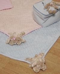 Soft Baby Play Mat 70 x 100cm Blue or Pink with Bunny Corner by Chichi Gifts