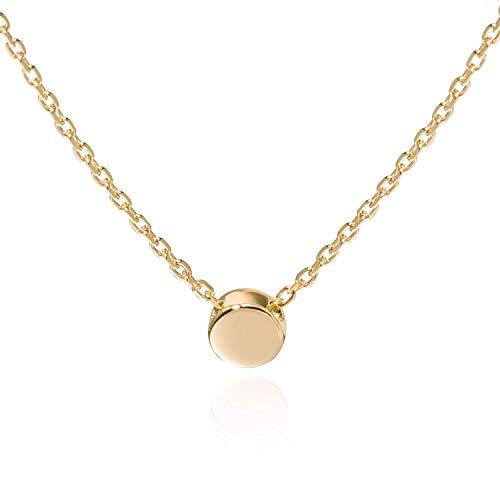 Kreis Punkt Halskette für Damen in 925 Sterling Silber mit 14K Gold vergoldet, Goldkette für Frauen Modell Dot, Kette mit Anhänger rund & klein, Kettchen 40+5cm