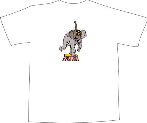 T-Shirt E756 Schönes T-Shirt mit farbigem Brustaufdruck - Logo / Grafik - Comic Design - Elefant macht Kunststücke im Zirkus Weiß