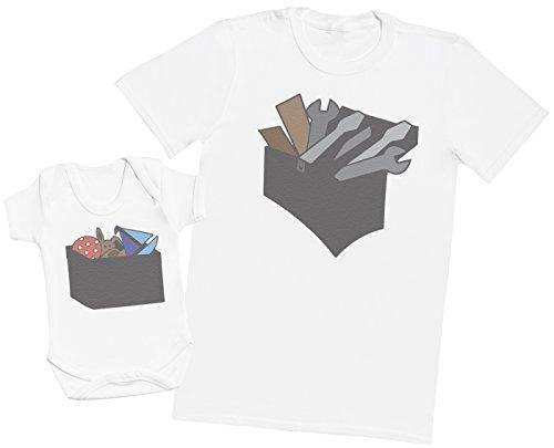 Zarlivia Clothing Tool Box and Toy Box - Passende Vater Baby Geschenkset - Herren T-Shirt & Baby Strampler/Baby Body - Weiß - XL & 18-24 Monate - 19-tool-box
