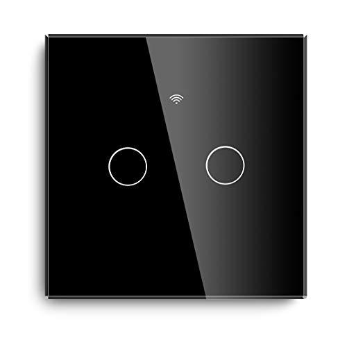 BSEED Smart WIFI Touch Sensor Wandlichtschalter (Neutrale Speisung erforderlich, kein Hub erforderlich) 2,4 GHz 10A Kompatibel mit Alexa/Tuya Glasscheibe 2 Gang 1 Way Black -