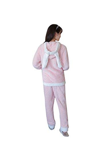 QPALZM Winter-koreanische Prinzessin Korallen Samt Pyjama Studenten Pink
