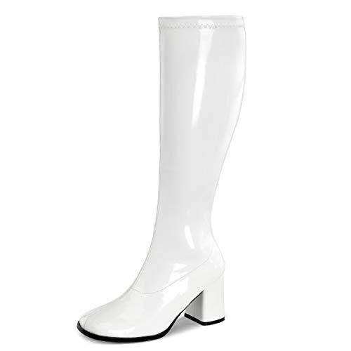 Higher-Heels Funtasma Kniestiefel Gogo-300WC Lack weiß Gr. 43