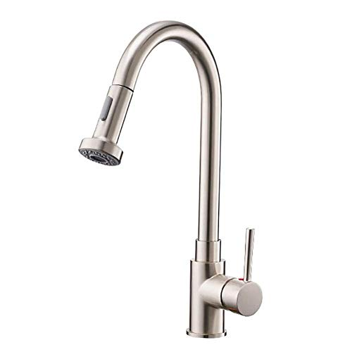 TRNMC Brushed Nickel High Arc Pull-Down-Sprayer Einhand-Spülbecken Armaturen, Ziehen Küchenarmaturen mit Deck Rosetten, Drawbench,Ziehbank - Nickel Rosette